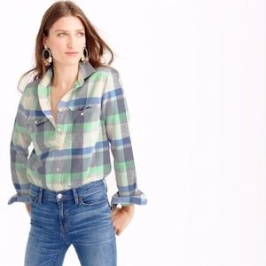 J. CREW Pacey Plaid Flannel Button Down Shirt - 2